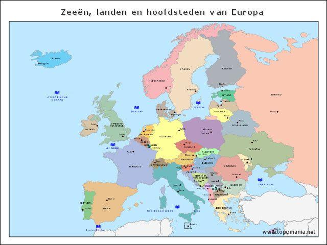 Kleine kaart Zeeën, landen en hoofdsteden van Europa // je kan werkblad op de site maken...supermakkelijk