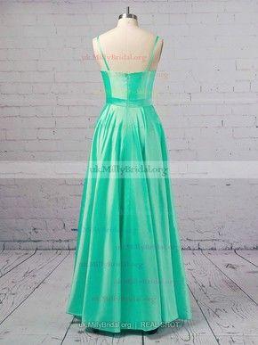 544da32454b Princess Scoop Neck Satin Floor-length Pockets Prom Dresses  UKM020106390