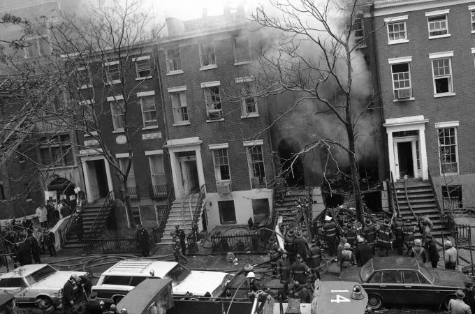 The scene where a Weather Underground bomb exploded prematurely inside a town house in Greenwich Village (March 6, 1970)