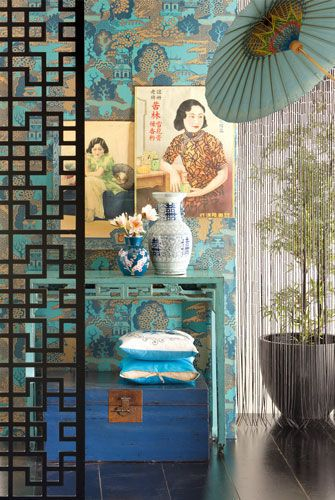 To die for...blues, lanterns, chest, art, wallpaper...Oriental inspired