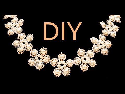 DIY: Flower style wedding necklace made of beads / Свадебное колье в цве...