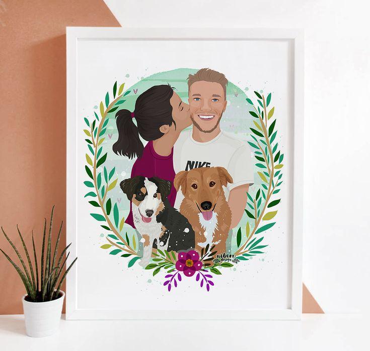 Custom Illustration, Custom Portrait, Couple Portrait, Pet Portrait, Couple Illustration, Custom Couple Gift, Unique Gift for Couples