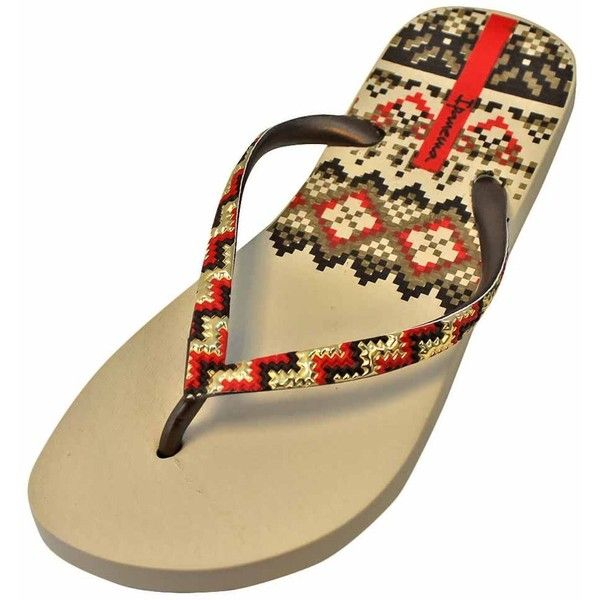 Beige & Bronze Ipanema Tribal Pattern Trends Flip Flop ($16) ❤ liked on Polyvore featuring shoes, sandals, flip flops, beige, flip flops women, footwear, tribal print shoes, strappy flip flops, beige shoes and strappy sandals