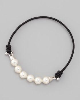 Majorica Elastic Pearl Bracelet, Black from Neiman Marcus on shop.CatalogSpree.com, your personal digital mall.