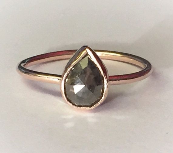 Rose cut pear diamond ring, Rose Gold, grey pear rose cut diamond, 14k rose or yellow gold, can stom made to order