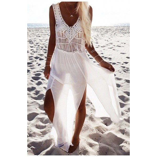 Sexy Open-Knit Sheer Split Hem Bikini Cover Ups ($28) ❤ liked on Polyvore featuring swimwear, cover-ups, sexy bikini, sexy bikini swimwear, sheer swim cover up, sexy see through bikinis and swim cover up