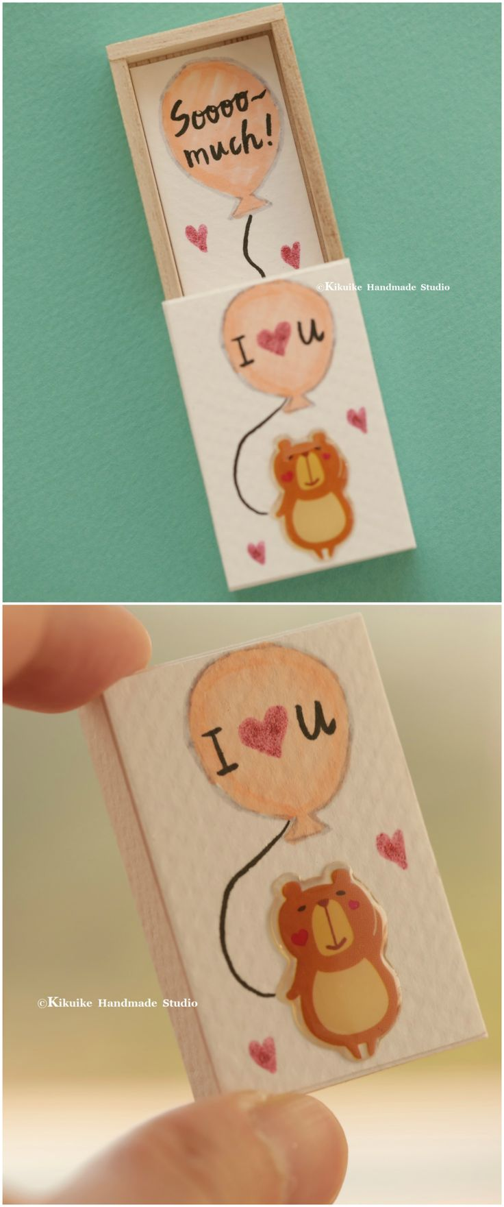 I LOVE YOU sooooo much,Miniatures matchbox card,Valentine's Gift,cheer up box,Gift for her/him,Girlfriend gift,boyfriend gift,matchbox art, birthday card, love card and funny card ideas #bear #balloon # cute #handpainted #unique #handmade #messagecard  #dollsandminiatures  #homedecor #personalizedgift #custom #anniversary #handmadebear  #toy #lovecard #テディベア #christmas #kikuikestudio #Longdistancegift  #valentineday #matchboxmessage