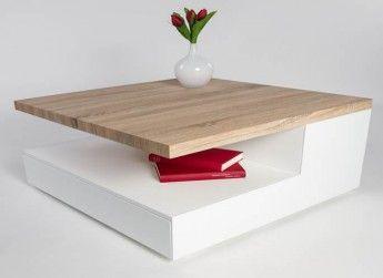 Table basse design en bois blanc laqué/chêne clair Valero