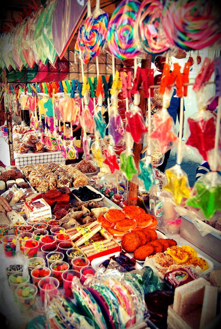 Dulces mexicanos, puesto de venta callejero, Coyoacan, Mexico  - I like the way they display! for more of Mexico, visit www.mainlymexican... #Mexico #Mexican #market #Mercado #tienda #shop