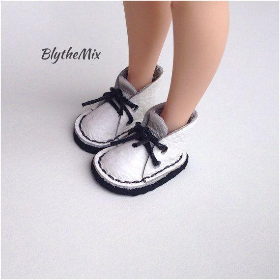 Blythe Leather Shoes Blythe boots White by BlytheMix on Etsy