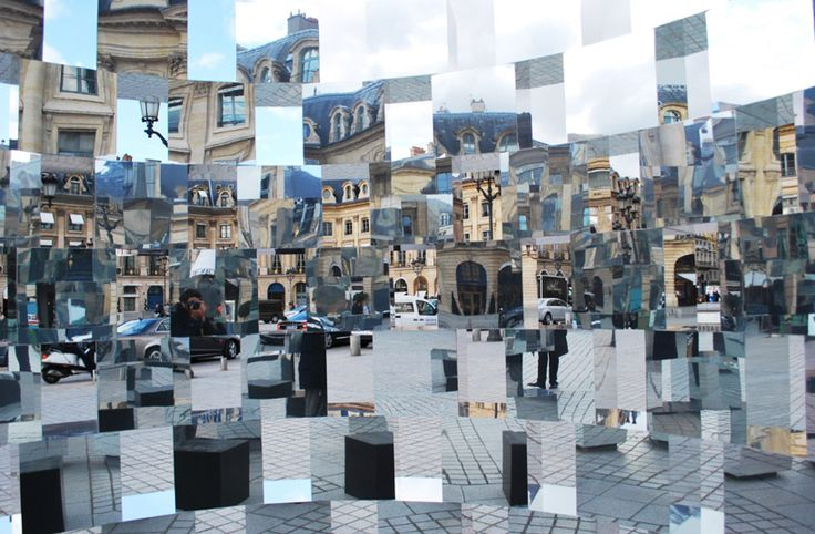 The vast amount of reflections and angles warps the perspective of the surrounding area. the optical effect creates a surreal environment in which both the structures and people are distorted and recreated, fracturing the usual relationship that individuals have with the piazza as well as themselves.