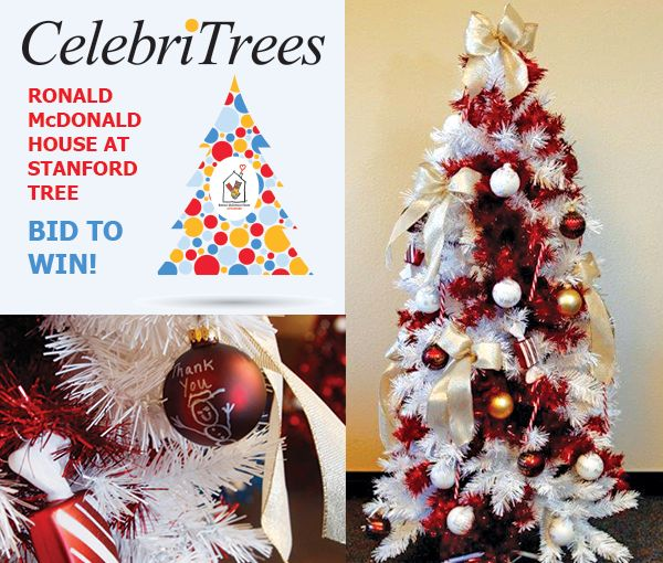 Fill your home with love & gratitude this holiday season with the Ronald McDonald House at Stanford tree! BID to WIN at http://trees.myab.co/  The children at Ronald McDonald House at Stanford have created a very special 5' tree for your home, filled with heartfelt messages of gratitude and love, and amazing gifts from local supporters.