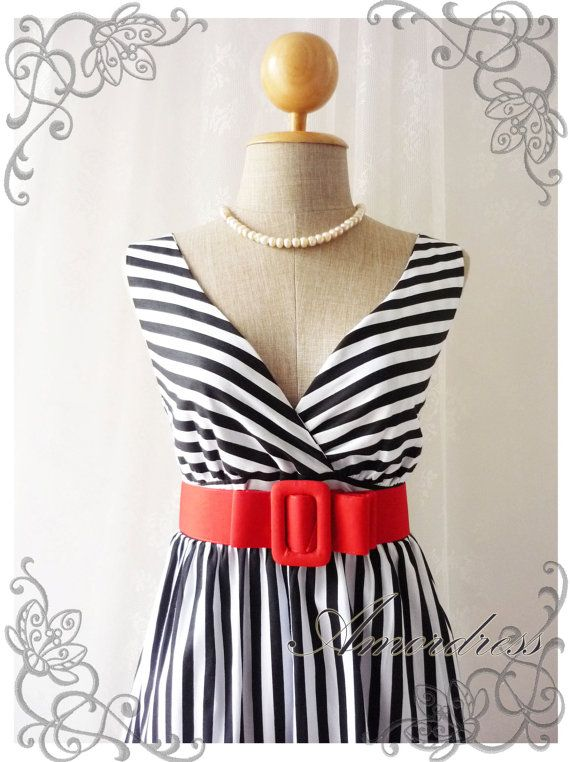 Summer Dress Tea Dress Black White Stripe Dress High Waisted Vintage Inspired Dress Party Cocktail Garden Dress Nautical Navy Dresses -S-M-. $42.00, via Etsy.