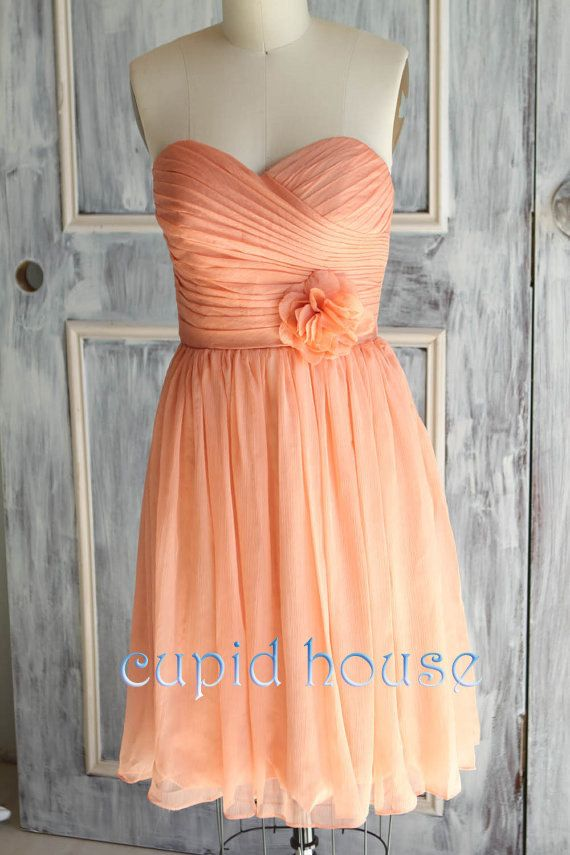 Orange bridesmaid dress a line straps chiffon short for Pink and orange wedding dresses