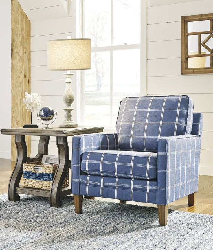 Best Adderbury Blue And White Windowpane Plaid Print Accent Arm 400 x 300