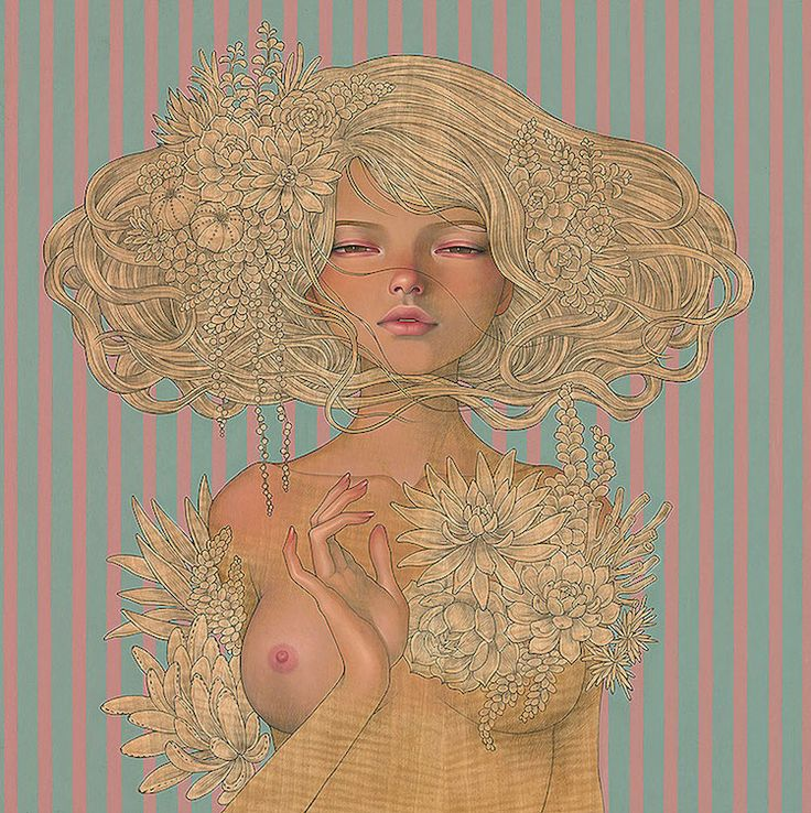 "Enchantress. 2016. Oil and graphite on wood panel. 23.5"" × 23.5"""