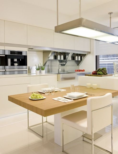 stainless steel kitchen tops, open shelves.