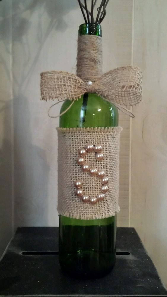 Rustic Burlap Pearl Initial Monogram Wine Bottle Wedding Decor  #handmade