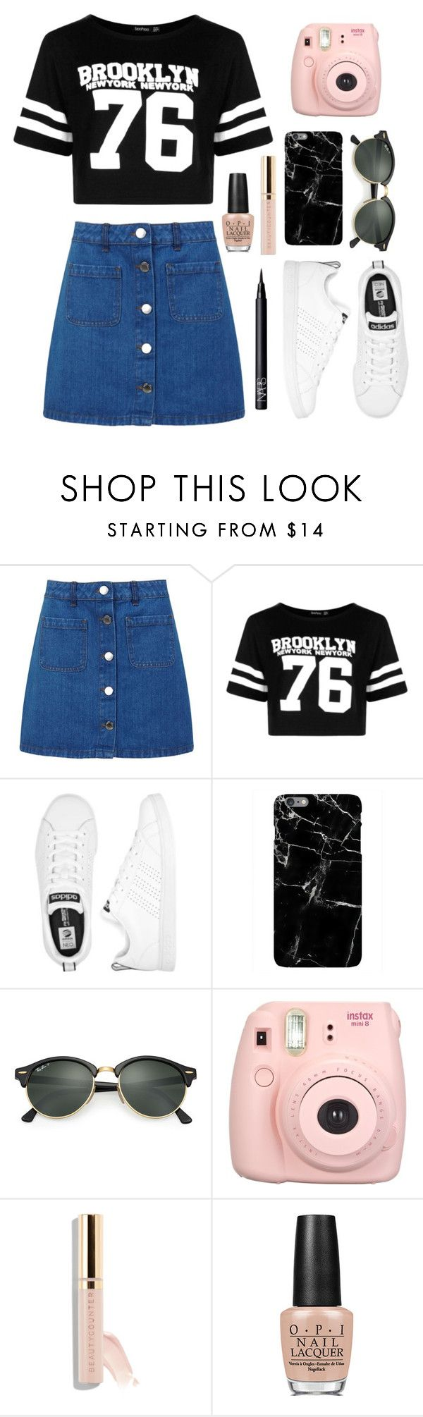 """Denim Skirt"" by neirak ❤ liked on Polyvore featuring Miss Selfridge, Boohoo, adidas, Ray-Ban, Fujifilm, Beautycounter, OPI and NARS Cosmetics"