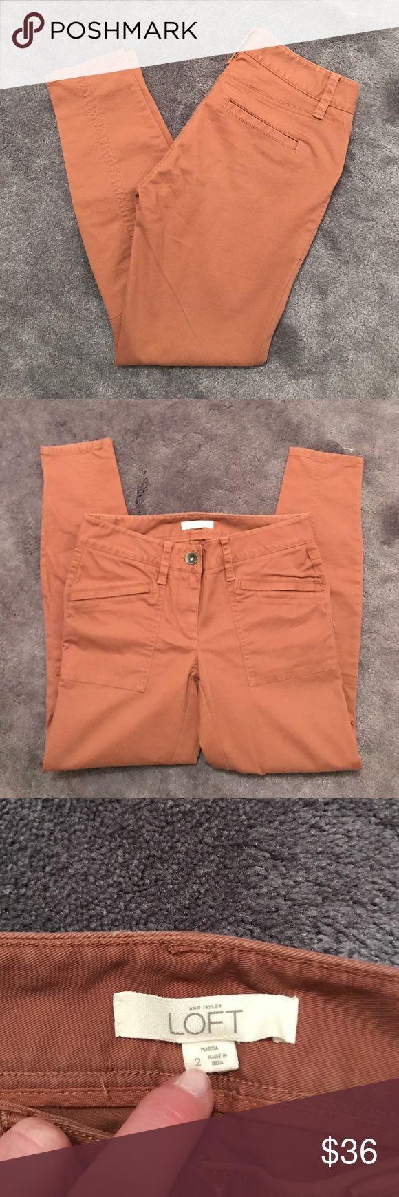 """New Loft Brown Skinnies Brand new without tags, brown skinny jeans! These jeans are from Loft and a size 2. 97% cotton. 27"""" inseam. The front two pockets are zipper closed. The back pockets are fake and sewn shut. LOFT Pants Skinny"""