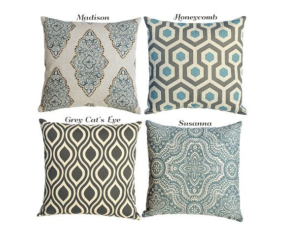 Blue Decorative Pillows For Couch Sofa Pillow Cover 7 Sizes 16x16 18x18 20x20 on Etsy, $18.00
