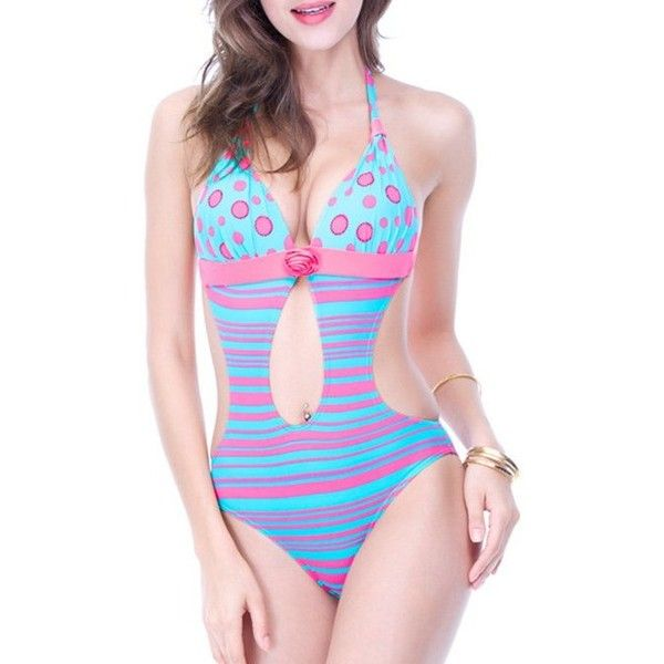 Backless Polka Dot Striped Cut Out Swimsuit ($33) ❤ liked on Polyvore featuring swimwear, one-piece swimsuits, cutout swimsuit, polka dot one-piece swimsuits, backless bathing suit, striped swimsuit and cut out one piece swimsuit