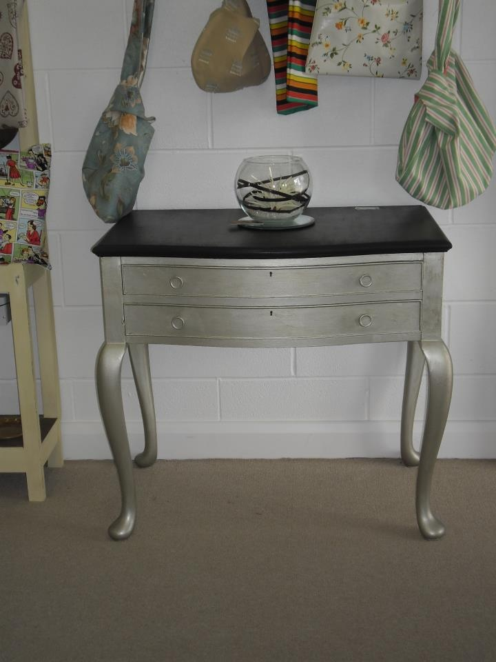 Silver and Black console table £120.