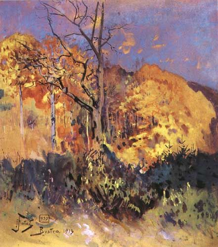 Julian Falat - Autumn in Bystra, 1913, watercolor on paper
