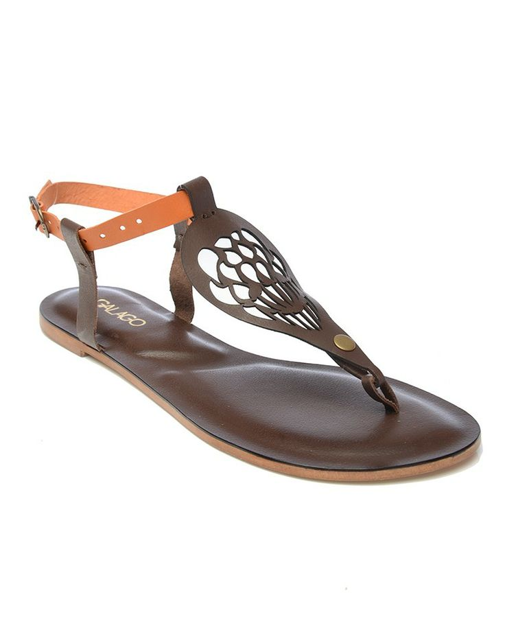 GALAGO | Sandals with Brown, Turquoise and Orange Straps - Women - Style36