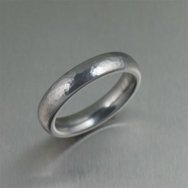 5mm Hammered Domed Stainless Steel Men's Ring - Makes a unique Engagement