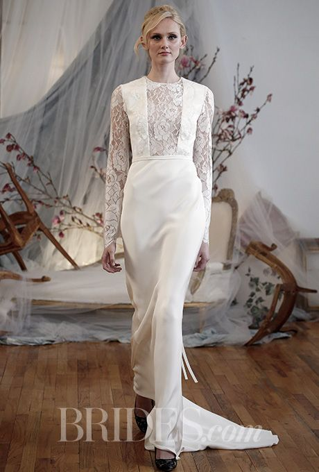 Go for bold with the sheer lace panel on this  @efillmore wedding dress | Brides.com