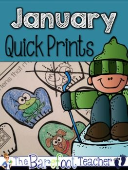 "FREE for the next hour! Happy ""snow"" day! January Quick Prints {Math & ELA Activity Sheets} - These 48 quick-print activity sheets are just what you need for the month of January. Use them when you're in a bind, put them in your sub tub, plan them for center work, or send them home as homework."