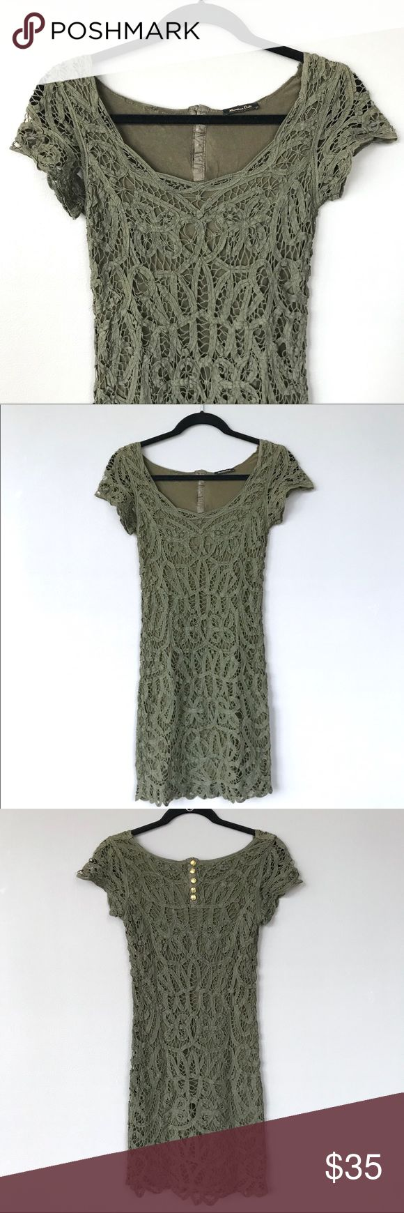 Massimo Dutti Olive Green Crochet-Style Dress Massimo Dutti Olive Green Crochet-Style Dress.  Size Small.  Cotton upper with viscose lining.  Cute buttons accent upper back area.  Very pretty dress, but runs small, closer to a size 0.  Pre-loved, but in very good condition. Massimo Dutti Dresses Mini