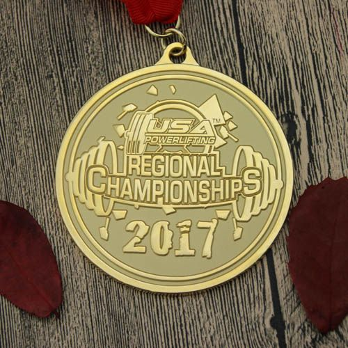 Powerlifting custom medals are gold medals, customized for