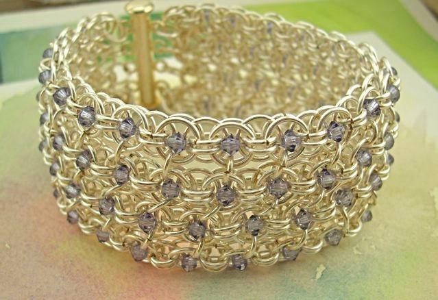 chainmaille purple sparkle cuff