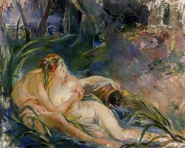 Two Nymphs Embracing by Berthe Morisot