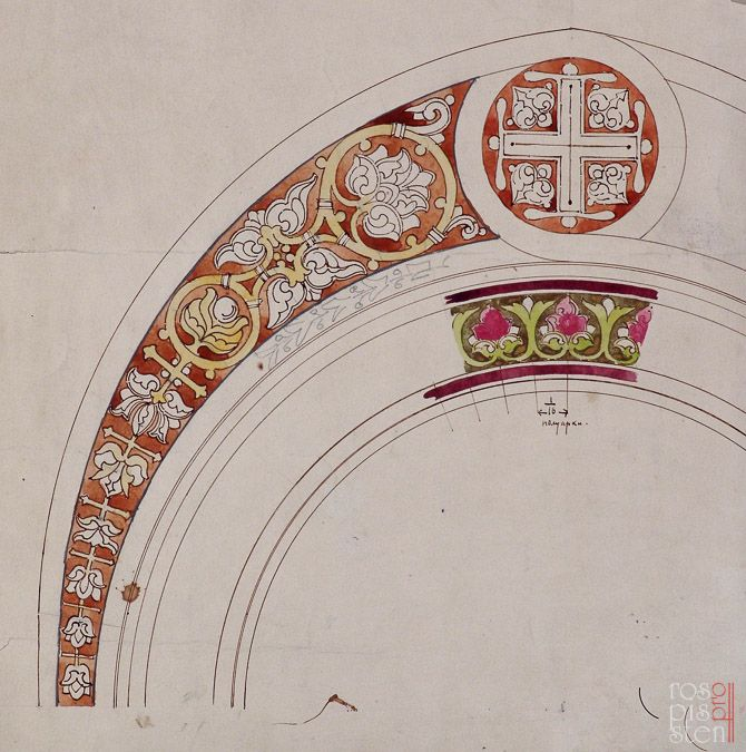 Sketches by architect VA Kosyakov. Kronstadt Naval Cathedral