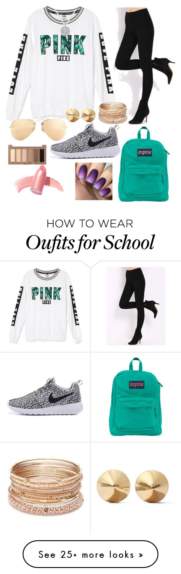 """""""Styling School"""" by sunglassesforstyle on Polyvore featuring Victoria's Secret, JanSport, Ray-Ban, Elizabeth Arden, Urban Decay, Red Camel and Eddie Borgo"""