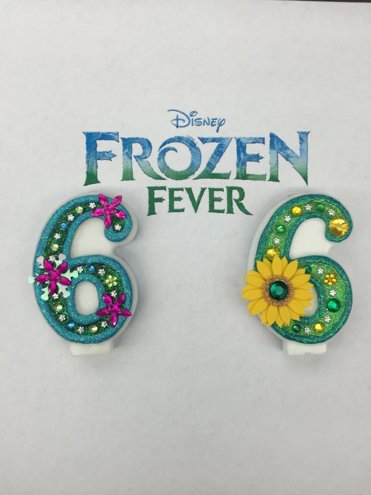 "Handcrafted ""Frozen Fever"" DOUBLE-SIDED Birthday Candle- Decorated To Your Liking by AmbersBirthdayJewels on Etsy"