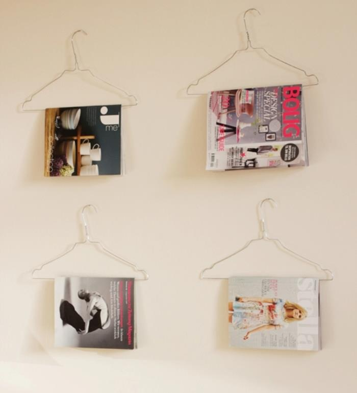 Old wire clothes hangers make an interesting magazine rack!