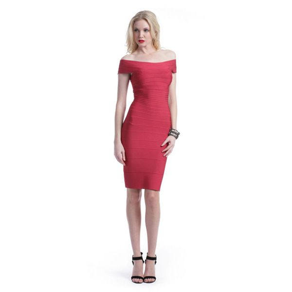 Herve Leger Couture Dress in Dark Red
