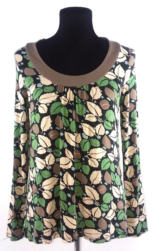 bd8e0fda64a Boden Womens Size 12 Jersey Knit Top Green Taupe Tan Leaf Print Boho  Viscose  Boden  Blouse  Casual