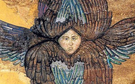 A detail from the the Hagia Sophia mosaic depicting seraphim