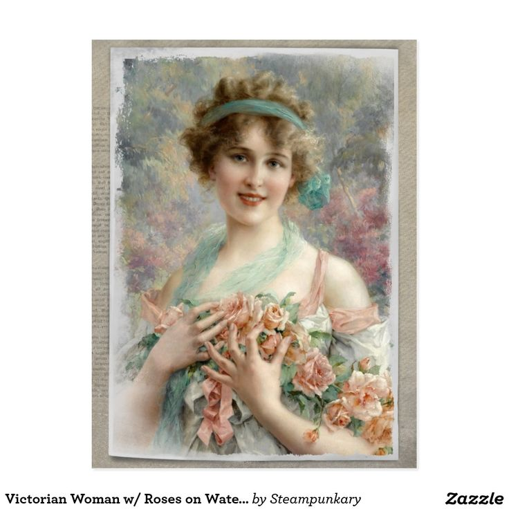 Victorian Woman w/ Roses on Watercolor Postcard