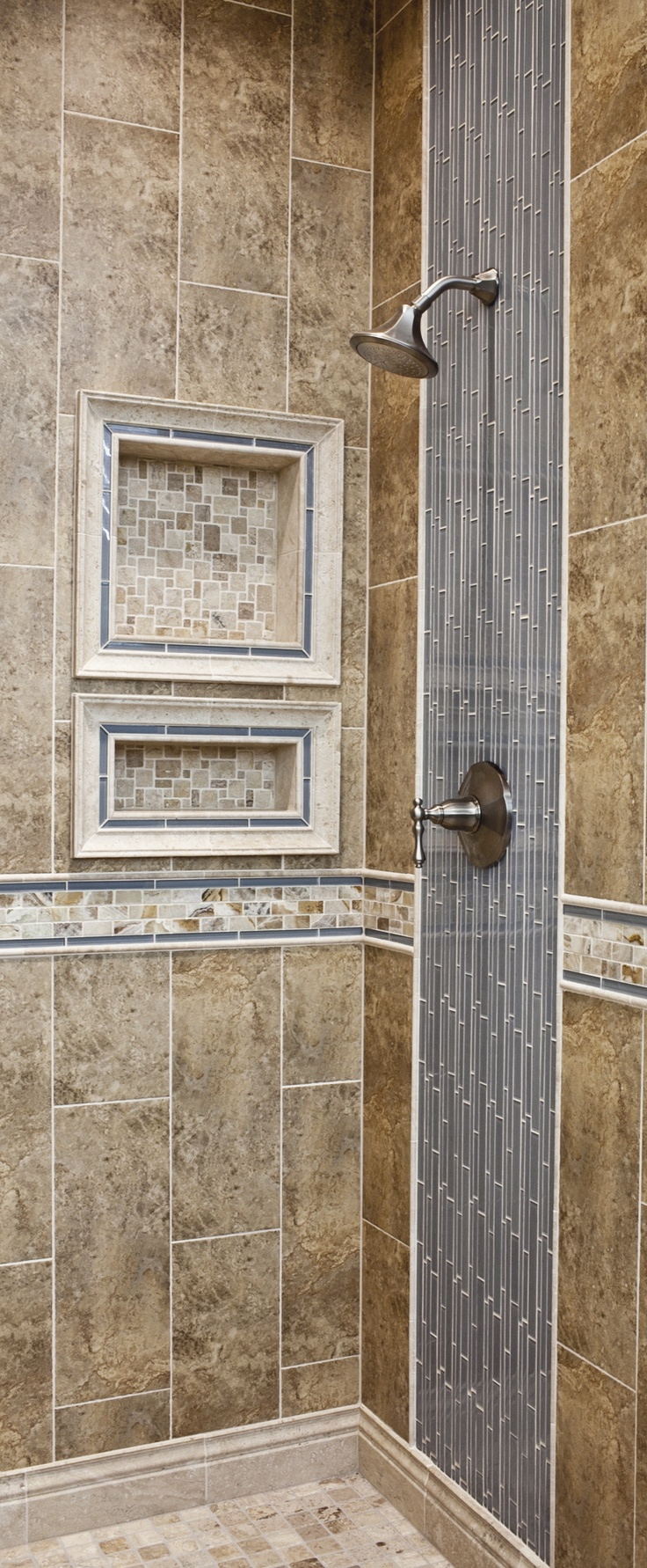The Vertical And Horizontal Accent Tiles Add Unique Charm To This Custom Ceramic  Tiled Shower.
