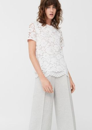 Katoenen t-shirt met kant -  Dames | MANGO Nederland
