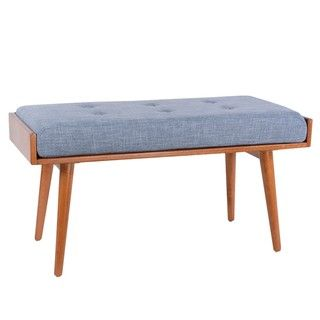 Combining vivid colors, a soft cushioned seat, and lovely angled legs, the Robin Accent Bench from Porthos Home offers ideal seating in a modern style. This piece is built to last, crafted using solid