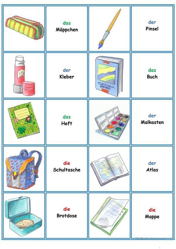 spiele im deutschunterricht memory die schulsachen daz deutsch lernen kinder deutsch. Black Bedroom Furniture Sets. Home Design Ideas