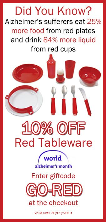 40% of Alzheimer's patients lose lots of weight, making them more susceptible to viruses and illnesses. Red tablware is clinically proven to increase food and drink intake in Alzheimer's patients and could help to prevent unhealthy weight loss. Find out more --> http://www.stressnomore.co.uk/red-deluxe-tableware-set-92438.html
