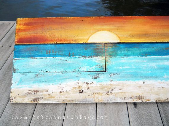Sunset Beach Pallet Art by DebHrabikDesigns on Etsy, $90.00